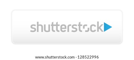 Elegant white button with blue arrow and shadow. - stock vector