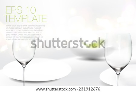 Elegant white dining table. Adjustable vector template. - stock vector