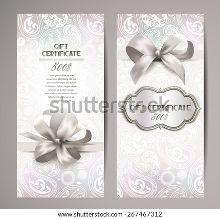 Elegant white gift certificates with silk ribbons and floral background - stock vector