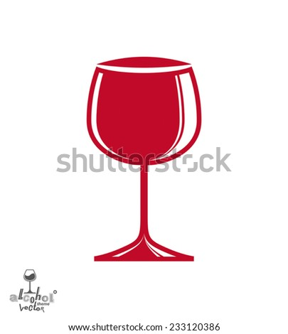 Elegant wine goblet, stylish celebration and alcohol theme illustration. Classic red wineglass, romantic rendezvous idea. Lifestyle graphic design element. - stock vector