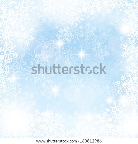 Elegant winter background made of snowflakes with blank space for your text. - stock vector