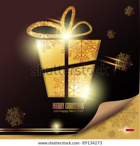 Elegant winter background with gift and snowflakes. Vector Illustration with place for text. - stock vector