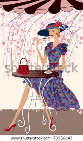 Elegant woman drinking coffee at a cafe - stock vector