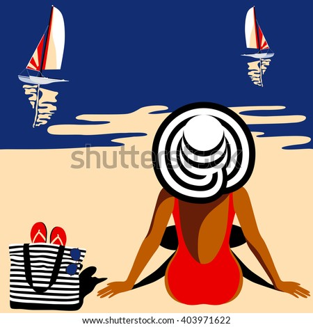 Elegant woman in hat sitting on the beach and looking at sea. Summer background, vogue style. Vector illustration - stock vector