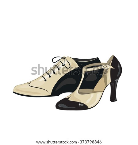 Elegant women's and man's shoes. Argentine tango, dance shoes. Vector illustration, isolated on white background. - stock vector