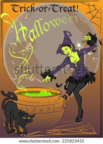 Elegant young witch accompanied by her black cat brews bubbling potion in a pot. Full yellow moon is behind. EPS8 Vector illustration. - stock vector