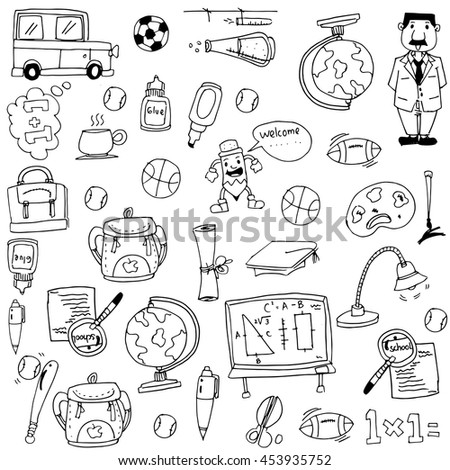Element education doodles vector art on white backgrounds