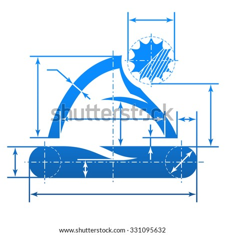 Element of blueprint drawing in shape of christmas hat. Qualitative vector illustration for for christmas, new year's day, headdress, winter holiday, accessory, silvester, etc. It has only gradients - stock vector