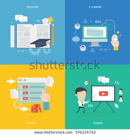 Element of education, tutorial, traning concept icon in flat design  - stock vector