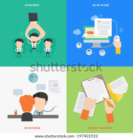 Element of HR recruitment process concept icon in flat design  - stock vector