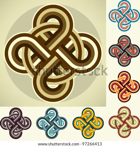 Element of oriental ornament, different color scheme - stock vector
