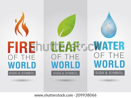 Element of the world, Fire leaf water icon symbol sign. Creative marketing. Business success. - stock vector