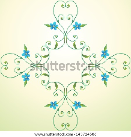 Element seamless vector pattern. Imitation of hand embroidery cross stitch. Forget-me-not. - stock vector