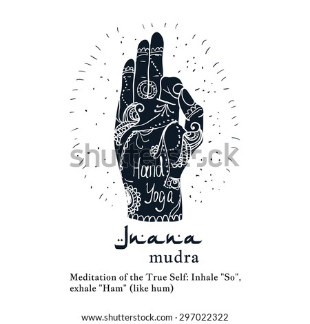 Element yoga jnana mudra hands with mehendi patterns. Vector illustration for a yoga studio, tattoo, spa, postcards, souvenirs.  - stock vector