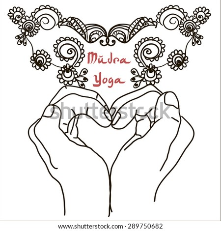 Element yoga mudra hands with mehendi patterns. Vector illustration for a yoga studio, tattoo, spa, postcards, souvenirs. Indian traditional lifestyle. - stock vector