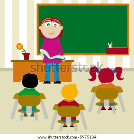 Elementary class teacher to teach a students - stock vector
