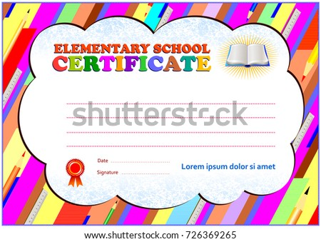 Elementary school certificate template polygonal design stock elementary school certificate template with polygonal design elements soft colors and empty text area in yadclub Image collections