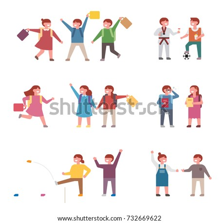 Elementary school students leaving school vector illustration flat design