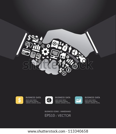 Elements are small icons Finance make in active businessman handshake shape.Vector illustration.