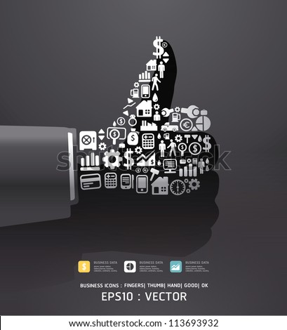 Elements are small icons Finance make in fingers shape good/ ok .Vector illustration.black color - stock vector