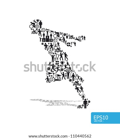 Elements are small icons sports make in active running man shape.Vector illustration. concept - stock vector