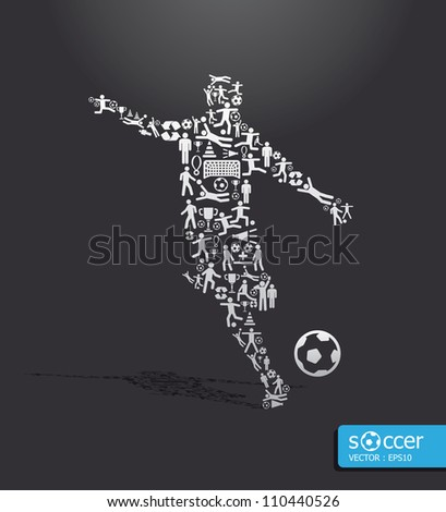 Elements are small icons sports make in active soccer player shape.Vector illustration. concept