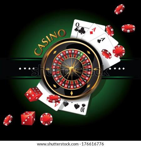 elements casino, roulette  - stock vector
