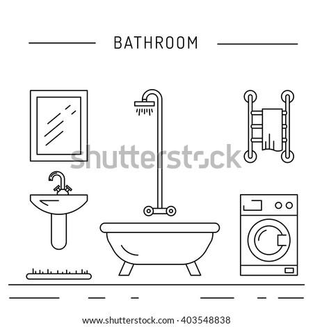 Elements Bathroom Interior Bathroom Interior Vector Stock ...
