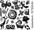 Elements for designing primitive art - stock vector
