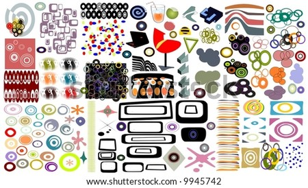 Elements for designing retro art - stock vector