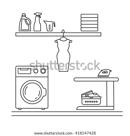 Elements For Laundry Interior Room Vector Element Isolated