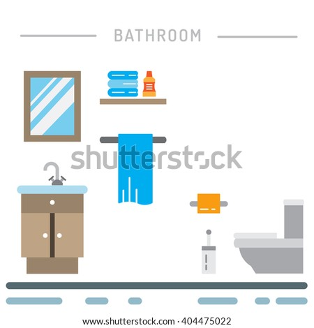 Elements for toilet interior. Toilet interior vector. Toilet interior element isolated. Toilet interior flat. - stock vector