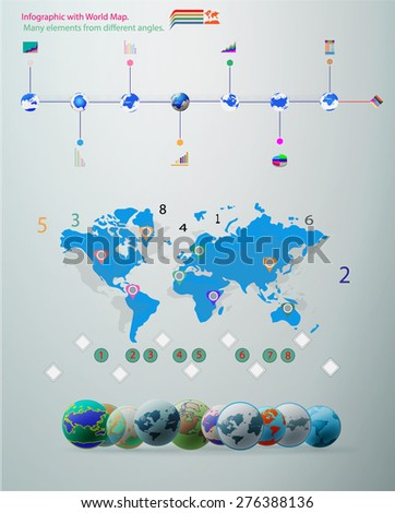 Elements infographic vector illustration. World Map, Information and Graphics. - stock vector