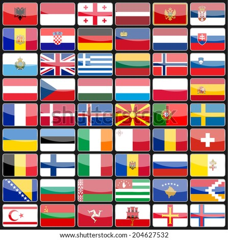 Elements of design icons flags of the countries of Europe. Vector illustration - stock vector