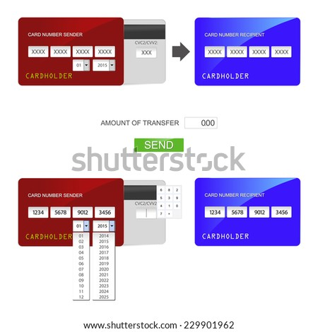 Elements of design in the form of a credit card to transfer funds between them. - stock vector