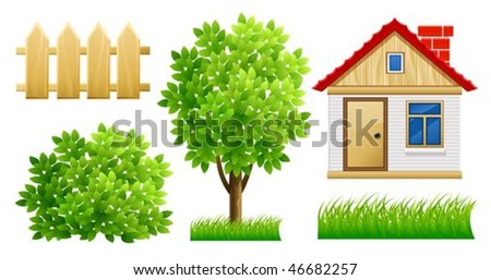 elements of green garden with house and fence - vector illustration, isolated on white background - stock vector