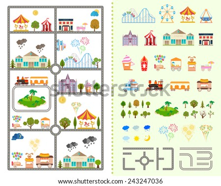 Elements of the modern city of entertainment. Design your own town. Map elements for your pattern, web site or other type of design. Vector illustration. - stock vector
