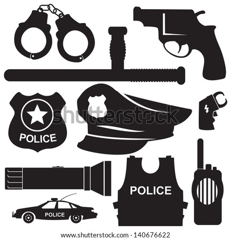 elements of the police equipment vector icons