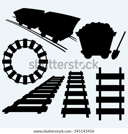Elements of the railway. Set railroad and mining cart. Isolated on blue background. Vector silhouettes - stock vector