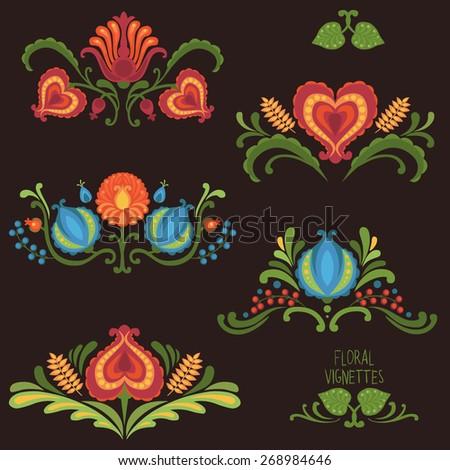 Elements of traditional Slavic ornaments. Vector illustration - stock vector