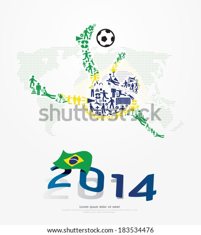 Elements Small Icons Soccer Player Shape on Flag of Brazil 2014.Vector Illustration - stock vector