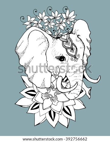 Elephant. Africa. Animal. Zoo. Herbivores. Line art. Tattoo. Black and white. Stylized. Decorative. Drawing by hand. Isolated. Background. - stock vector