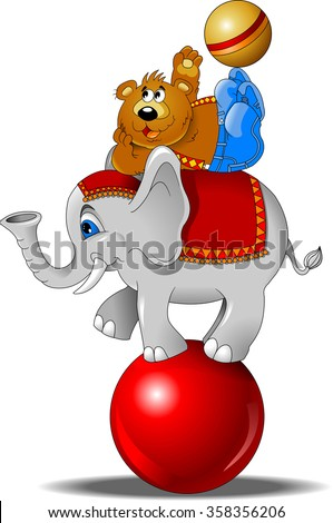 elephant and bear juggling the ball at the circus - stock vector