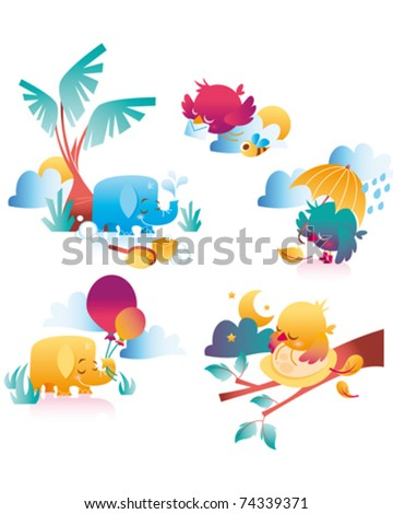 elephant and bird - stock vector