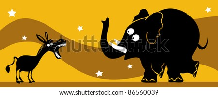 Elephant and donkey - stock vector