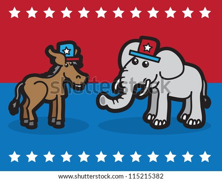 Elephant and Donkey representing political parties - stock vector