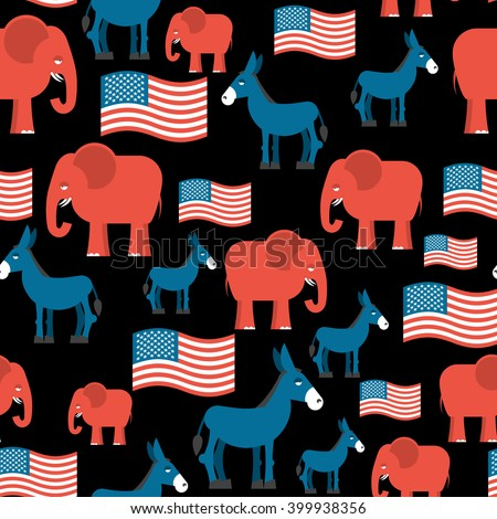 Elephant and Donkey seamless pattern. Symbols Democrats, Republicans. Texture election and debate America. Democrat donkey, Republican elephant and USA flag. Political background. patriotic ormanent - stock vector