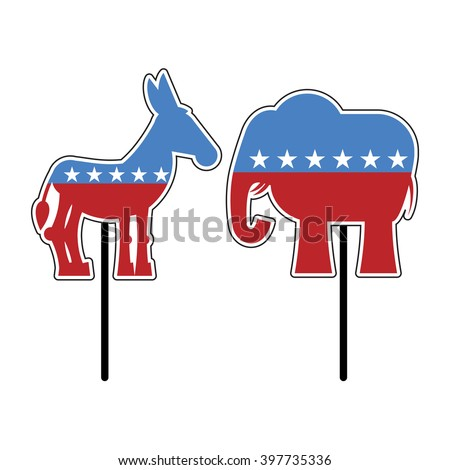 Elephant and donkey. Symbols of Democrats and Republicans. Political parties in United States. Illustration for election, debate America. Democrat Donkey and Republican Elephant opposition. USA flag - stock vector