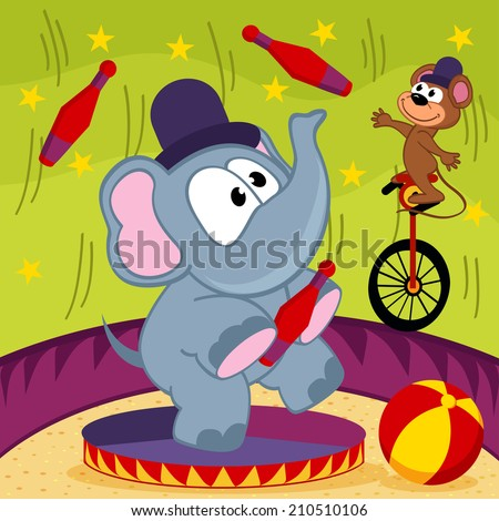 elephant and mouse circus - vector illustration, eps - stock vector