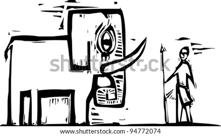 Elephant and native hunter with spear in woodcut style. - stock vector
